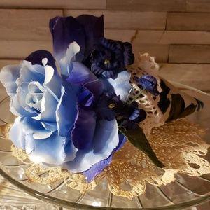 Vintage Barkscloth Blue Silk Flower Pin cushion